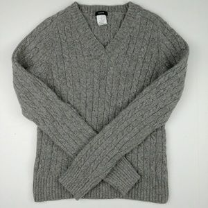 J. Crew Cable Knit Wool Rabbit Hair Blend Sweater